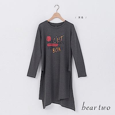 beartwo 前後不對稱印字休閒長版上衣(二色)