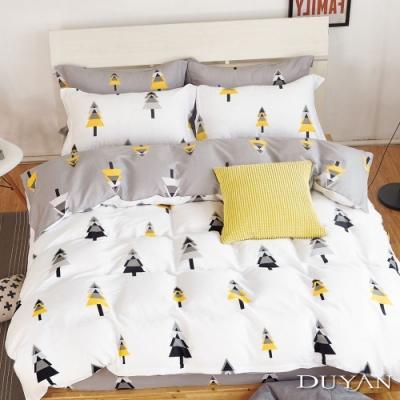 DUYAN竹漾 100%精梳純棉 雙人四件式舖棉兩用被床包組-北歐森林 台灣製