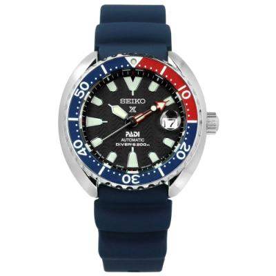 SEIKO 精工 PROSPEX 自動上鍊 日期 潛水 矽膠機械手錶-黑x藍/44mm