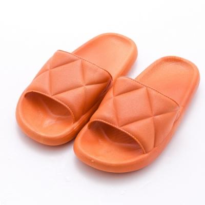 River&Moon繽紛一字寬版菱格紋Q軟底拖鞋 橘