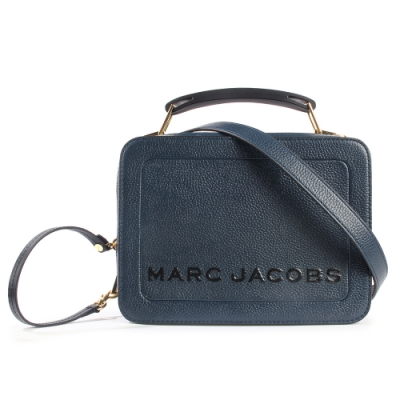 MARC JACOBS 經典THE BOX 23雙拉鍊手提斜背兩用包-深藍色