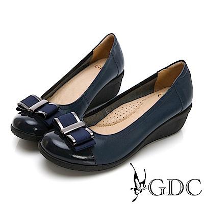 GDC-真皮素色蝴蝶結基本圓頭楔型鞋-藍色