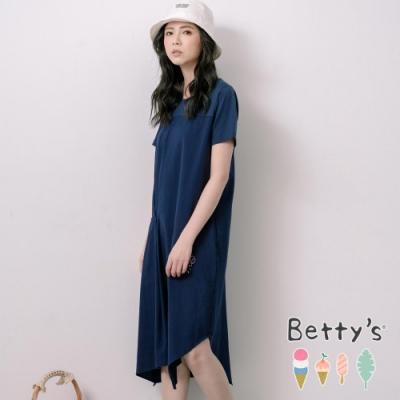 betty's貝蒂思 圓領拼接特殊剪裁洋裝(深藍)