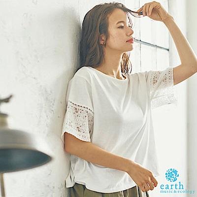 earth music 袖鏤空刺繡拼接素面T恤