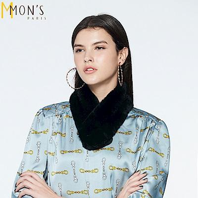 MONS 高密度獺兔毛造型磁釦圍巾(100%兔毛)