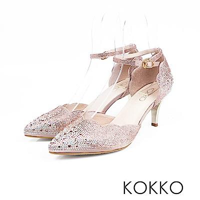 KOKKO -  童話小鎮漸層感水鑽尖頭高跟鞋 - 玫瑰金
