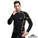 【SBARTY】男新款 3mm長袖拉鍊緊身彈性防曬潛水上衣_黃線黑