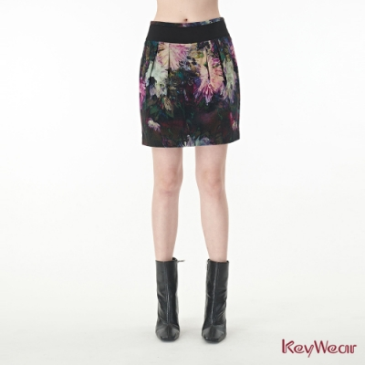 KeyWear奇威名品    打褶印花拼接中庸裙-綜合色