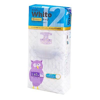 Nepia Whito王子白色系列黏貼紙尿褲 日本境內十二小時版 L 40片/包