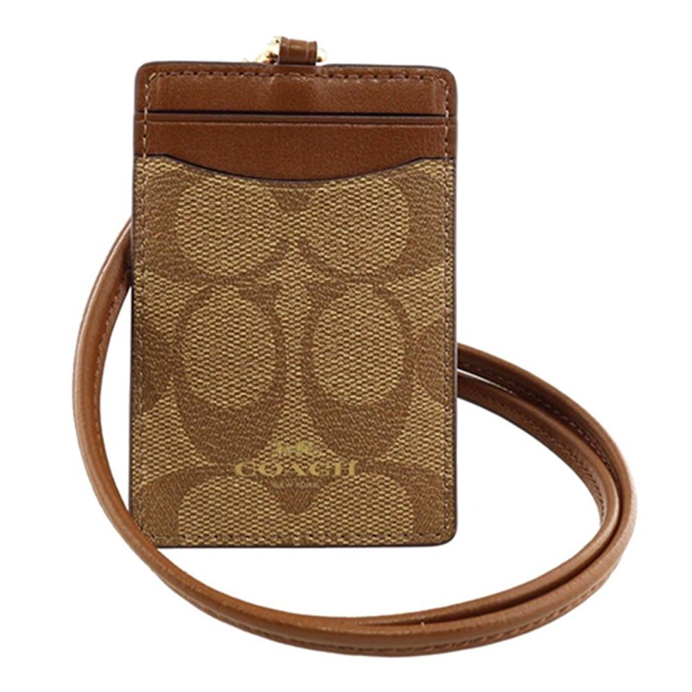 COACH LOGO馬車PVC皮革證件套票卡夾 棕色LOGO皮革x棕