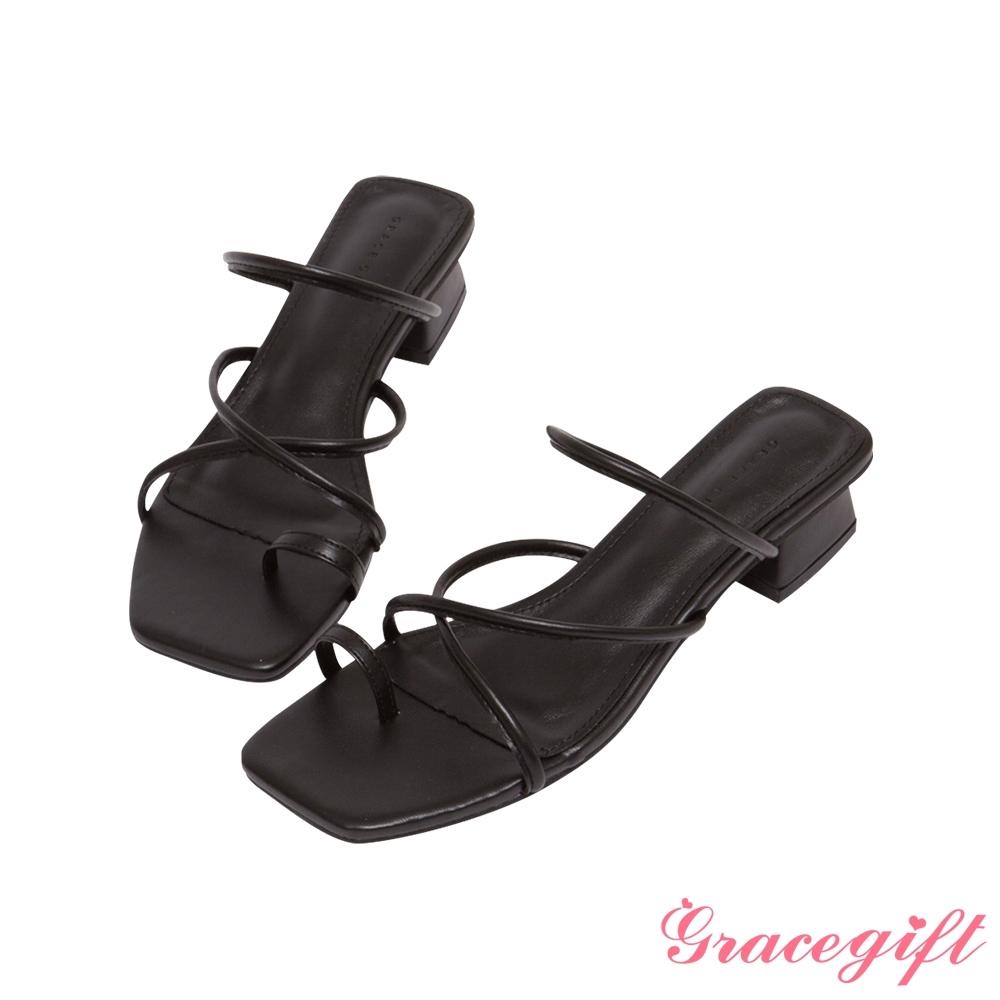 Grace gift-交叉細帶套趾低跟涼拖鞋 黑