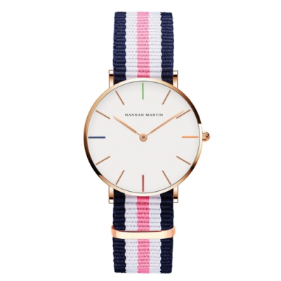 HANNAH MARTIN 彩色刻度帆布帶腕錶(多款任選)