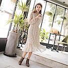 領綁帶清新印花拼接魚尾裙襬長洋裝-OB大尺碼