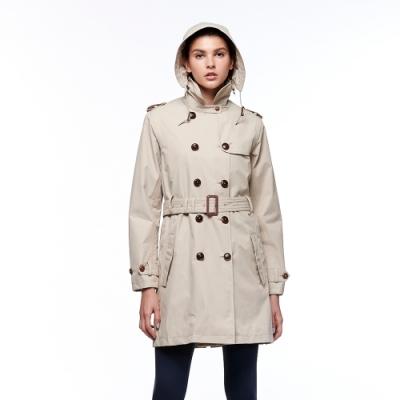 【HAKERS 哈克士】女款 防水風衣外套(淺卡其)