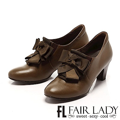 Fair Lady 雅蝴蝶結粗跟短靴 橄欖綠
