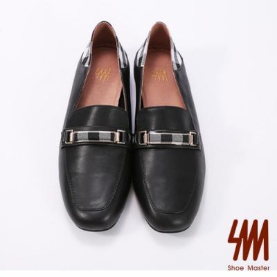 SM-優選牛皮方頭格子造型低跟樂福鞋