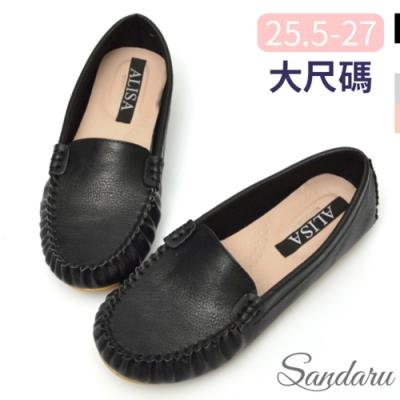 山打努SANDARU-大尺碼鞋 國民豆豆鞋 素面極簡軟底休閒鞋-黑