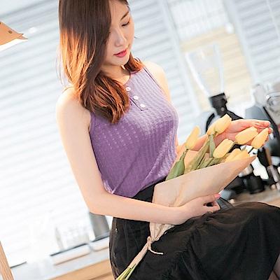 純色高含棉質感織紋配色排釦背心-OB大尺碼