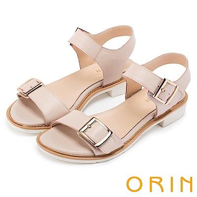 ORIN 簡約時尚潮流 雙帶牛皮方扣低跟涼鞋-粉裸