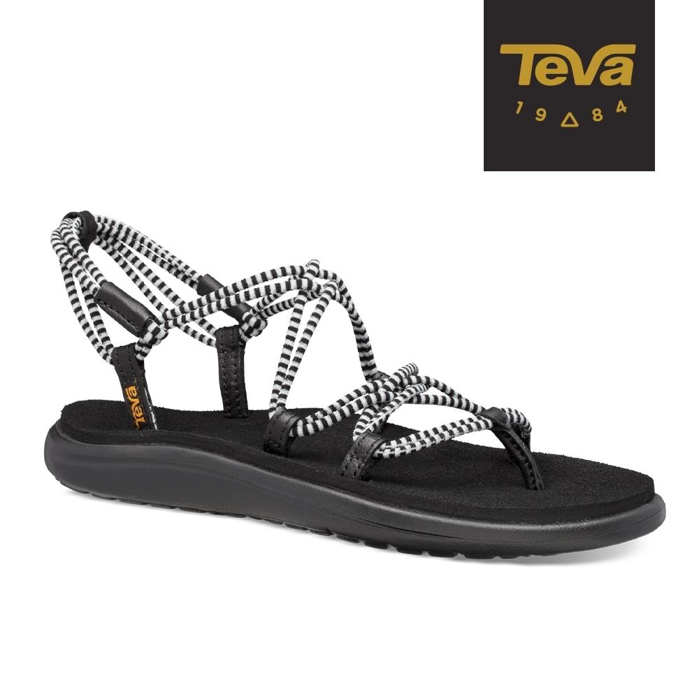 【TEVA】原廠貨 女 Voya Infinity Stripe 羅馬織帶涼鞋/雨鞋/水鞋(黑亮白-TV1106866BBWHT)
