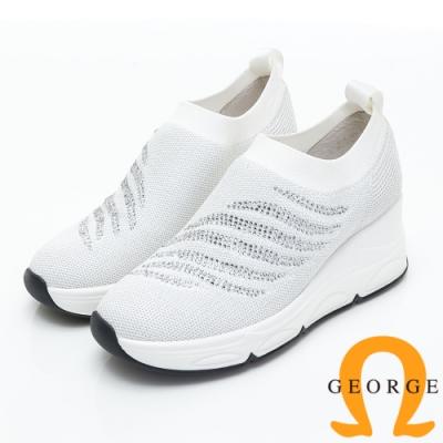 GEORGE 喬治皮鞋 火焰水鑽編織厚底休閒鞋-白色