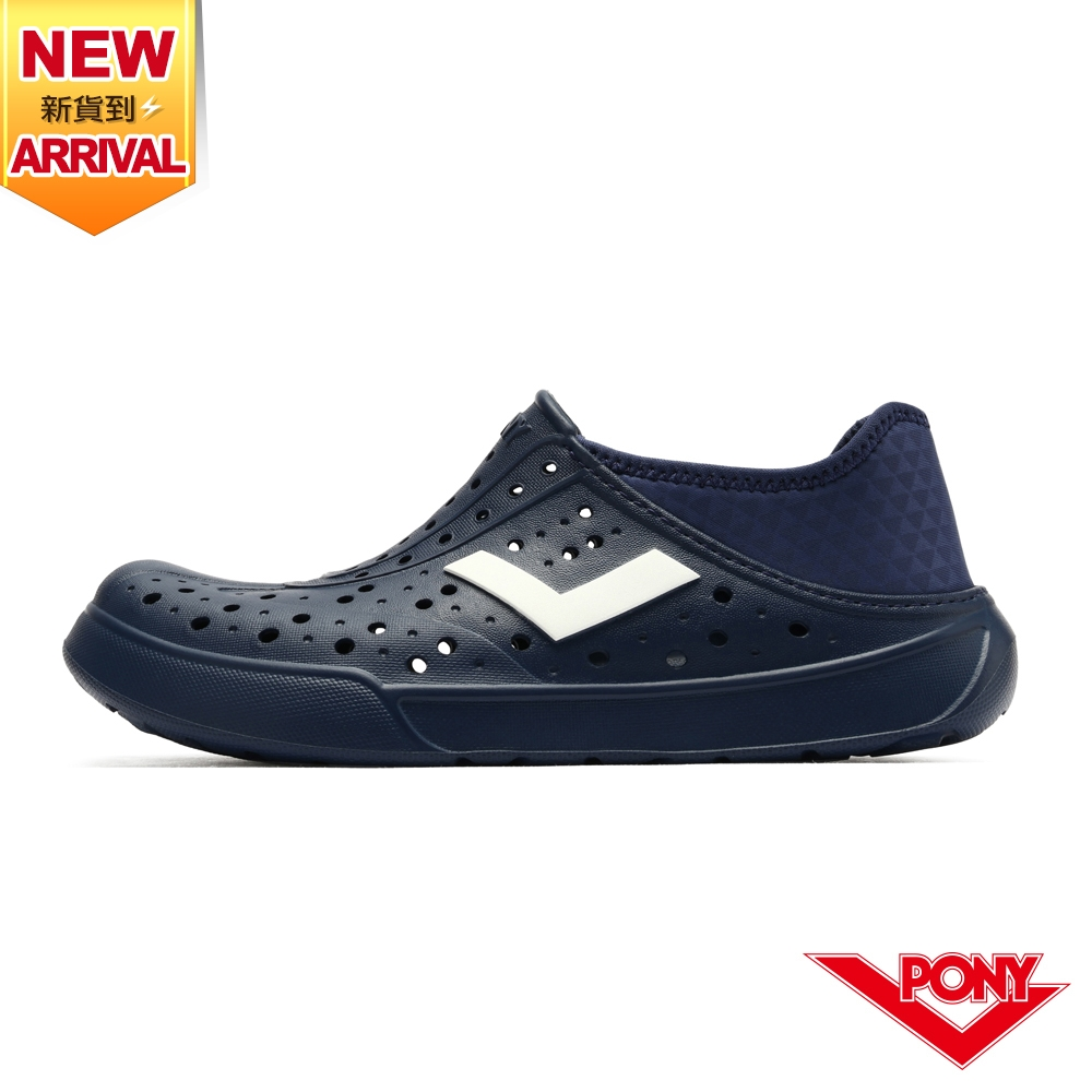 【PONY】ENJOY洞洞鞋 踩後跟 雨鞋 水鞋 中性款-單色/藏青