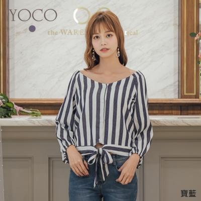 YOCO恬靜清純雙色直條紋大V領腰綁結上衣-S.M.L