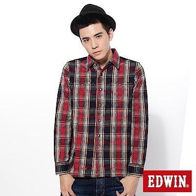 EDWIN 條絨拼格休閒襯衫-男-丈青