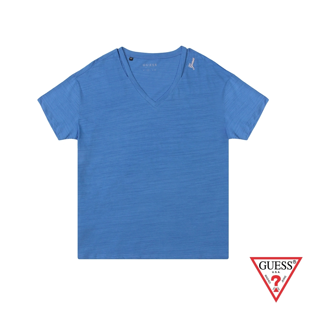 GUESS-女裝-不規則領口素面短T,T恤-藍 原價1790