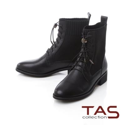 TAS異材質拼接綁帶束口短靴-率性黑