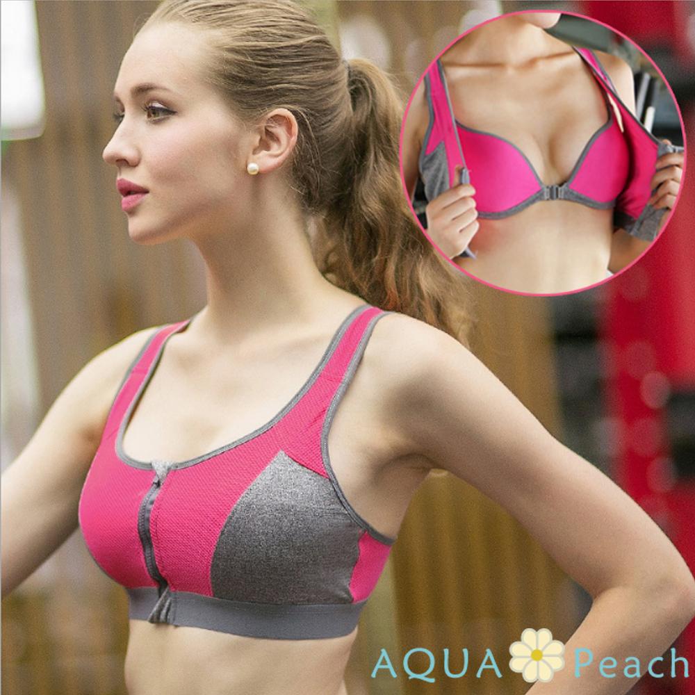 運動內衣 兩件一體式前扣拉鍊聚攏內衣 (玫紅色)-AQUA Peach