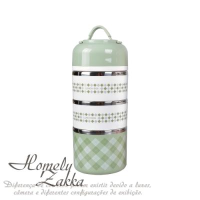 Homely Zakka 韓式創意炫彩多層頂級不銹鋼保溫飯盒/便當盒 _北歐綠