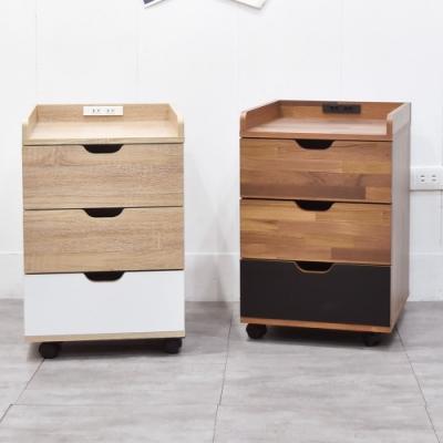 凱堡 木紋風三層活動櫃(附插座)/床頭櫃