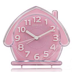 愛迪生 超靜音房子立體數字鬧鐘-粉