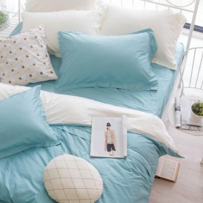 OLIVIA TWINS 湖綠X米白 標準雙人床包被套四件組 MOC莫代爾棉 台灣製