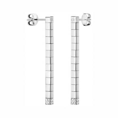 CALVIN KLEIN Tune 系列方塊造型鋼色耳環-白
