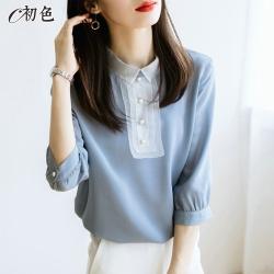 初色  法式蕾絲雪紡襯衫-共2色-(M/L可選)