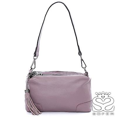 SOFER 斜背包 焦糖牛皮Elegant雙層斜背包 - 粉紫