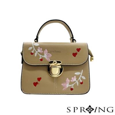 SPRING-獨特的花花刺繡手提包-神秘灰棕