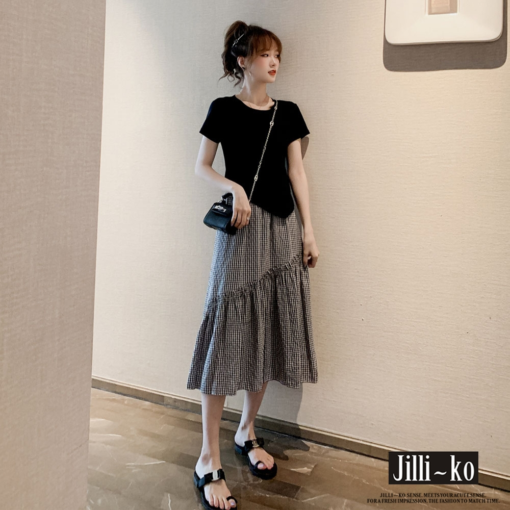JILLI-KO 兩件套不規則剪裁T+鬆緊腰木耳邊長裙- 黑/白