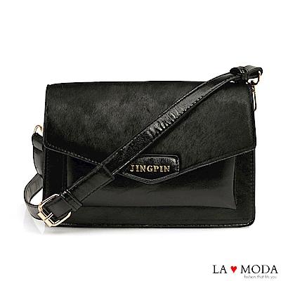 La Moda 個性經典異材質拼接設計信封造型肩背斜背小方包(黑)