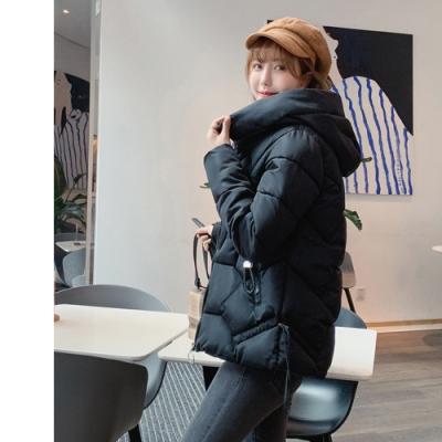 2F韓衣-韓系高領連帽口袋抽繩造型修身外套