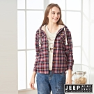 JEEP 女裝 格紋保暖連帽襯衫式外套-紅格紋