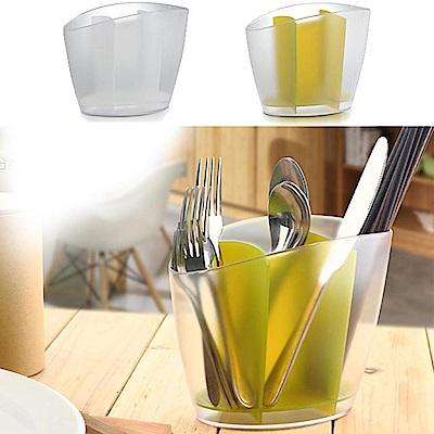iSFun 流線瀝水 透視桌上餐具收納筒架(2色)