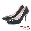 TAS方形金屬扣飾豚皮高跟鞋-質感黑