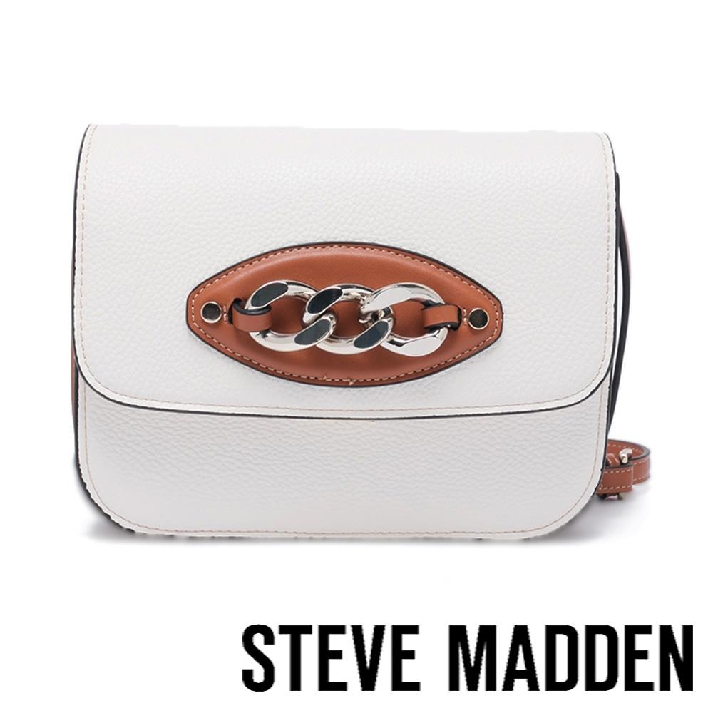 STEVE MADDEN-BALORE 皮質飾扣方形斜背包-白色