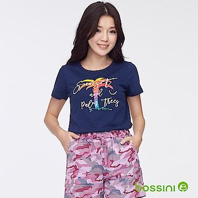 bossini女裝-印花短袖T恤34海軍藍