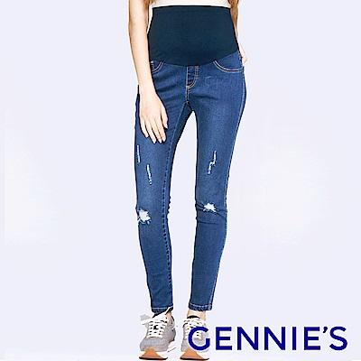 Gennies專櫃-個性破壞感一體成型牛仔褲-藍(T4E47)