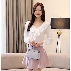 IMStyle 甜美氣質顯瘦V領雪紡衫(白/淺藍/磚紅色)