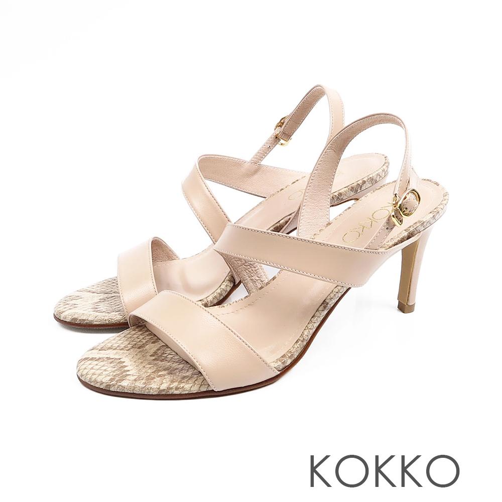 KOKKO - 最愛夏日斜條紋真皮高跟涼鞋 - 奶茶